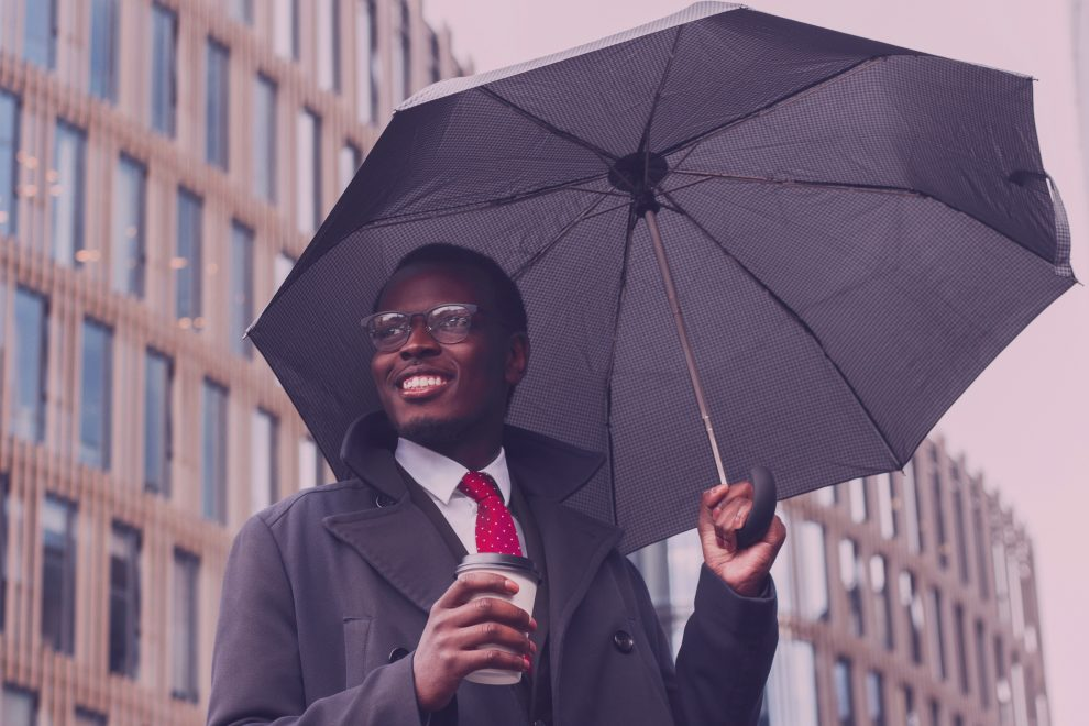 umbrella,black,african,professional,smiling,coffee,glasses